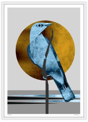 Poster Fågel blå måne guld