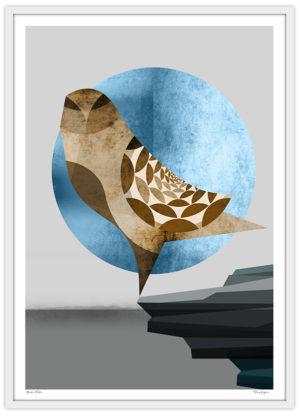 Poster Fågel falk brun måne klippa