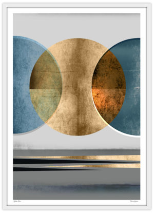 Abstract måne blå guld poster